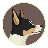 Dog collection Toy Fox Terrier Geometric style icon round. Set stock illustration