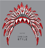 Dog in the colored Indian roach. Indian feather headdress of eagle. Hand draw vector illustration Stock Photos