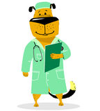Dog in costume of doctor. Pet as a vet with with a stethoscope a royalty free illustration