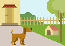 Dog courtyard doghouse flat design cartoon vector animals pets. Dog on courtyard with doghouse flat design cartoon vector animals pets. Flat zoo nature children Royalty Free Stock Images
