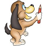 Dog and crayon Stock Photo