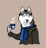 Dog with a cup of tea. Vector drawing - dog with a cup of tea Stock Photos