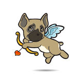 Dog Cupid vector cartoon illustration. Dog cupid come for help your love successful Royalty Free Stock Photo