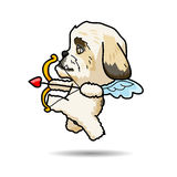 Dog Cupid vector cartoon illustration. Dog cupid come for help your love successful Stock Image