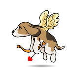 Dog Cupid vector cartoon illustration. Dog cupid come for help your love successful Royalty Free Stock Photography