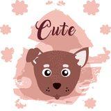 Dog cute animal cartoon. Dog cute cartoon on white and pink colors with floral background vector illustration Stock Photos