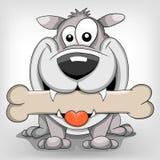 Dog. Cute cartoon vector dog with bone Stock Images