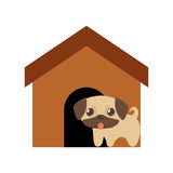 Dog cute tongue out brown house. Illustration eps 10 Stock Images