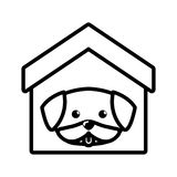 Dog cute tongue out house pet outline Stock Photo