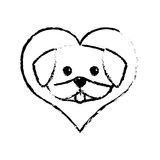 Dog cute tongue out love sketch Stock Photos