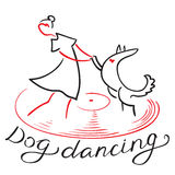Dog dancing icon. Girl with dog dance on vynil record. Heelwork Stock Images