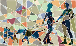 Dog date mosaic. Editable vector colorful mosaic illustration of a man and woman and their pet dogs interacting Royalty Free Stock Photography