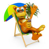 Dog in deckchair. The dog is sitting on a deckchair. 3d rendering Royalty Free Stock Images