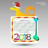 Dog det gula banret för bakgrund på det nya året 2018 Royaltyfri Fotografi