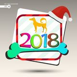 Dog det gula banret för bakgrund på det nya året 2018 Fotografering för Bildbyråer