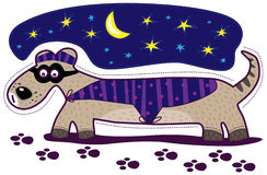 Dog detective and moon Stock Photo