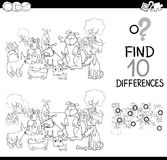 Dog difference game coloring page. Black and White Cartoon Illustration of Finding Details Educational Activity for Children with Dog Characters Coloring Book Royalty Free Stock Photography