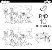 Dog difference game coloring page. Black and White Cartoon Illustration of Finding Differences Educational Game for Children with Purebred Dog Characters Stock Photography