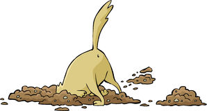 Dog digs a hole stock illustration