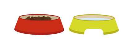 Dog dish food in bowl animal feed meal canine snack plate vector illustration. Stock Image