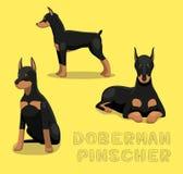 Dog Doberman Pinscher Cartoon Vector Illustration Stock Photography