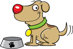 Dog with a dog dish. Cartoon illustration of a dog with a dog dish Stock Photography