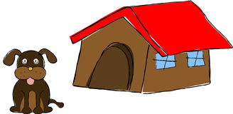 Dog & Dog House Stock Image