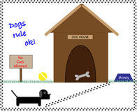 Dog and dog house Royalty Free Stock Photo