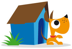 Dog and dog house Royalty Free Stock Image
