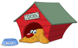 Dog in doghouse. Smiling dog in his doghouse royalty free illustration
