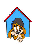Dog In The Doghouse. Hand drawn cartoon of an unhappy dog sitting in his dog house Royalty Free Stock Images