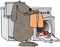 Dog Doing Laundry. This illustration depicts a dog taking underwear out of a clothes dryer Stock Images
