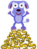 Dog on dollars Stock Photography