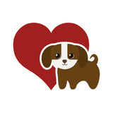 Dog domestic mammal red heart. Illustration eps 10 Stock Photo