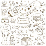 Dog Doodles. Dogs and dog accessories illustrated in a doodled style Royalty Free Stock Photo