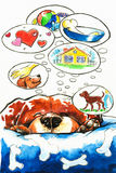 Dog dreams. Sleeping dog dreamming about true home.Picture I have created with watercolors Stock Photo
