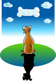 Dog dreams. A vector illustration for a dog's dreams: clouds becomes a bone Royalty Free Stock Images