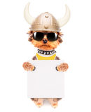 Dog dressed up as a viking with banner Royalty Free Stock Photo