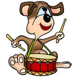 Dog  Drummer. Cartoon Illustration, Vector Stock Photography