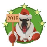 Dog East German shepherd happy new year 2018 Stock Photo