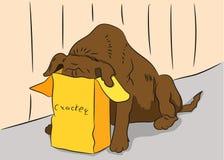 The dog eats an illustration royalty free illustration