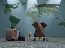 Dog and elephant travel Stock Images