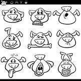 Dog emoticons cartoon coloring page Royalty Free Stock Photo