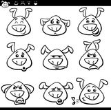 Dog emoticons cartoon coloring page Royalty Free Stock Photography