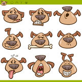 Dog emoticons cartoon illustration set Royalty Free Stock Photo