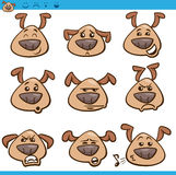 Dog emoticons cartoon illustration set Stock Photo