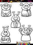 Dog emotion set cartoon coloring book Royalty Free Stock Image