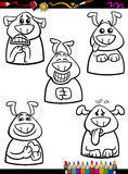Dog emotion set cartoon coloring book Royalty Free Stock Photography