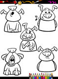 Dog emotion set cartoon coloring page Royalty Free Stock Image
