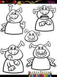Dog emotion set cartoon coloring page Stock Photos